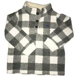 White & Gray Checked Fleece Pullover 18M | 39E